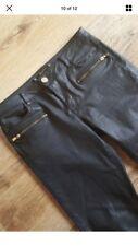 Zara Coated Wax Wet Leather Look Zip Skinny Jeans Trousers Gold Hardware 10 38