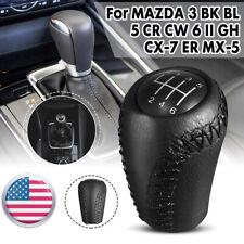 6 Speed Gear Stick Shift Knob Black Leather For MAZDA 3/5/6 BK CR GH CX-7 MX-5