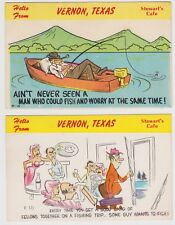 c1960s Vintage Lot of 2 Stewart's Cafe Vernon Texas Comic Fishing Postcards
