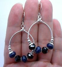 Smooth Blue Lapis Lazuli with Black Onyx Hoop Sterling Silver Earrings A0408