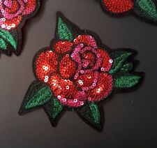 "Red & Pink Sequin Rose with Leaf Embroidered Patch Iron-On/Sew On, 5"" Applique"