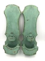 "2 Vintage Candle Holder Wall Sconces Wall Hanging Turquoise Wood  22.5"" Long"