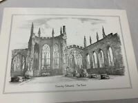 """Coventry Cathedral Ruins Print Lithograph Etching Numbered 7""""x10"""" Judges England"""