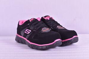 Women's Skechers Synergy - Sandlot Work Sneakers, Black / Pink, 6.5M