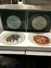 Avon Christmas Collector Plates 1981 & 1983 22k Gold Trimmed Limited Edition