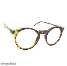 Tortoiseshell Keyhole Depp Style Round Glasses CLEAR Lens Geek Frame 1920s VTG