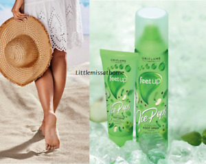 ORIFLAME FEET UP ICE POPS COOLING GREEN APPLE & MINT foot care spray & cream