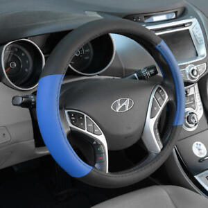 """Blue Black Two Tone Steering Wheel Cover For Car Van SUV Truck Auto 15"""""""