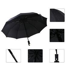 Wind Resistant Fiberglass Auto Open Close Windproof Vented Men's Black Umbrella