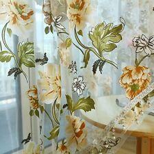 Yellow Flower Voile Sheer Window Curtain Drape Beads Valance Home Decor 2x1m