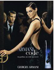 Publicité Advertising 2006 Parfum Armani Code Giorgio Armani avec Mini Anden