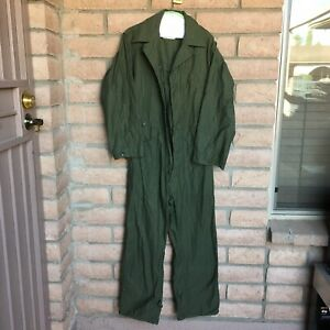 Mens Coveralls Size Small Cotton Sateen Type I Green Navy Vintage Dallas Uniform