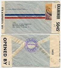 BERMUDA CENSOR INTERCEPTED 1942 CARIBBEAN ERNESTO MENENDEZ HS + DOUBLE CENSOR