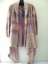 NWT LAUREN Ralph Lauren Open Wrap Shawl Cotton Wool TaupeMulti Sweater L XL $298