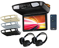"PLANET AUDIO P12.1ES Black/Grey/Tan 12.1"" Flip Down Car DVD Monitor+Headphones"