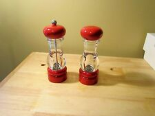 """Olde Thompson Salt Pepper Mill Red Acrylic Carbon Steel 6.5"""" Tall"""