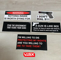 (5) Gun 2nd Amendment Variety Pack Funny Sticker Decal JDM Joke Funny Die Cut