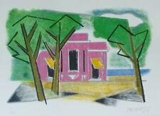 "Osvaldo Peruzzi 1907-2004 ""Garden Villa"" HAND SIGNED Lithograph Italian Artist"