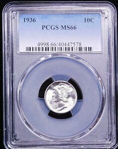 1936 P Mercury Silver Dime PCGS MS66 Blast White with Superb Luster PQ #T126