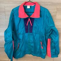 Vintage Columbia Radial Sleeve Windbreaker Pullover Jacket Womens Size L 80s