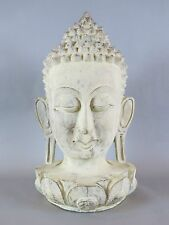 Buddha Head Effigy Bust Statue Life Size Hand Carved Solid Wood 18""
