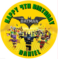 "Lego Batman personalised  Edible icing sheet cake topper 7.5"" Round Birthday"
