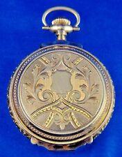1908 American Waltham Pocket Watch Model 1879 Size 18 14k Gold BOX HING Hunter