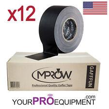 "12x MPROW Gafffun Gaffer Tape 3"" 180' Black Matte (No residue) Gaff 60 Yards"