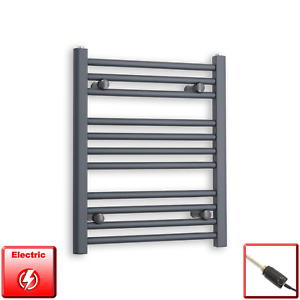 500mm Wide 600mm High Flat Anthracite Pre-Filled Electric Towel Rail Radiator