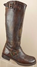 Frye Veronica Slouch Brown Leather Buckle Knee High Riding Boots Womans 6.5 B