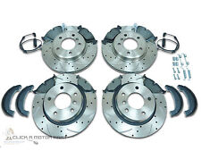 BMW E46 M SPORT FRONT & REAR BRAKE DISCS MINTEX PADS SENSORS SHOES + KIT DRILLED