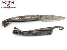 Kv_10b Damascus Steel Ram Head Friction FOLDER KNIFE