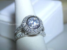 925 STERLING SILVER 2 RING SIMULATED DIAMOND HALO ENGAGEMENT WEDDING SET Size 6