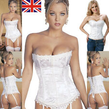 UK Ladies Boned Bustier Bridal Wedding Corset Outfit Sexy Basques+Garters+Thong