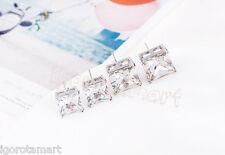 Qualità Singolo Quadrato Argento Rock Punk Diamond Cut Ear Stud Borchie Orecchini