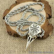 Viking Raven Skull With Helm of Awe Rune Silver Pendant With Twisted Steel Chain