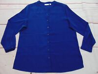 Susan Graver Stretch Peachskin Long Sleeve Button Front Shirt Size 16 Blue