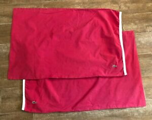 Pair Standard Izod Lacoste Alligator logo Pillowcase solid red bedding 2 preppy