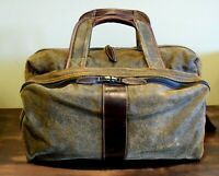 Vtg Roger Edwards Carry On Weekender or Gym Bag Nubuck and Leather Two Tone