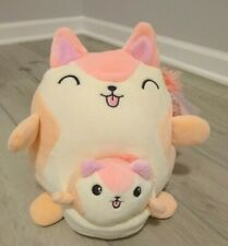 "2x New Squishmallow 8.5"" & 4.5"" Clementine Orange Pink Squirrel & Baby in Pouch"
