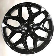 """22"""" Gloss Black Snowflake Wheels Rims 2000-2018 Chevy Silverado Tahoe Suburban"""