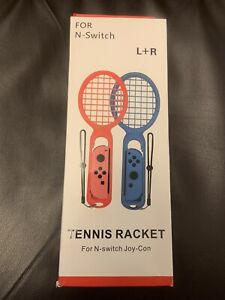 2 Tennis Rackets For N-Switch Joy-Con Controller L & R, D2, red/blue New in Box!