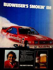"Kenny Bernstein Budweiser Smokin' Em Original Print Ad 8.5 x 11"""