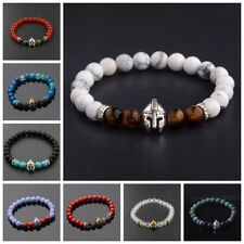 Fashion Men Black Lava Stone Gold Silver Spartan Helmet Beaded Viking Bracelets