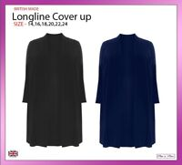Ladies Women Longline Cover Up Party Formal Dress Coat Cardigan Plus Sizes 14-24
