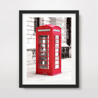 RED TELEPHONE BOX LONDON ART PRINT Poster City British Photograph Wall Picture