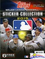 2015 Topps Baseball Stickers 32 Page Collectors Album+6 Bonus Stickers! NEW !