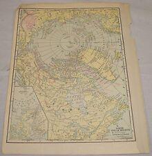1911 Antique MAP of NORTH POLAR REGIONS/Full Color