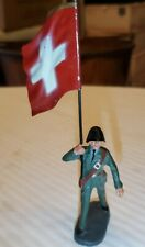 "VINTAGE COMPOSITE ELASTOLIN,GERMANY.SWISS TOY MILITARY FIGURE- FLAG CARRIER 6"" h"