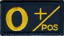 Navy Coast Guard Blue Yellow Blood Type O+ Positive Patch VELCRO® BRAND Hook Fas